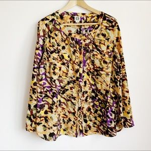 abstract print anne klein round neck blouse